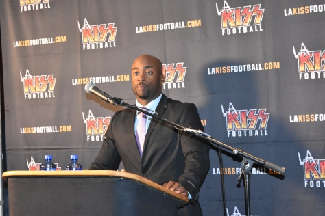 New Head Coach Omarr Smith at the LA KISS Football Media Day in Anaheim, CA.